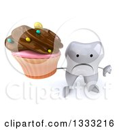 Clipart Of A 3d Unhappy Tooth Character Holding Up A Thumb Down And Chocolate Frosted Cupcake Royalty Free Illustration