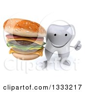 Clipart Of A 3d Happy Tooth Character Holding Up A Thumb And Double Cheeseburger Royalty Free Illustration