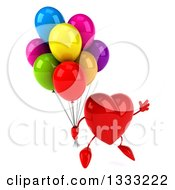 Clipart Of A 3d Heart Character Facing Slightly Right Jumping And Holding Party Balloons Royalty Free Illustration