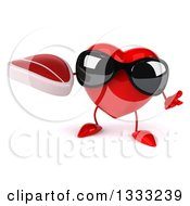 Clipart Of A 3d Heart Character Wearing Sunglasses Shrugging And Holding A Beef Steak Royalty Free Illustration