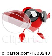 Clipart Of A 3d Heart Character Wearing Sunglasses Facing Slightly Right Jumping And Holding A Beef Steak Royalty Free Illustration