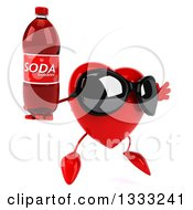 Clipart Of A 3d Heart Character Wearing Sunglasses Facing Slightly Right Jumping And Holding A Soda Bottle Royalty Free Illustration