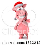 Clipart Of A 3d Full Length Happy Christmas Pig Wearing A Santa Hat And Standing By A Sign Royalty Free Illustration