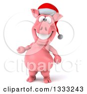 Clipart Of A 3d Happy Christmas Pig Wearing A Santa Hat And Presenting Royalty Free Illustration by Julos
