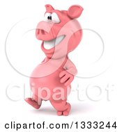 Clipart Of A 3d Happy Pig Walking Slightly To The Left Royalty Free Illustration