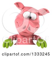 Clipart Of A 3d Happy Gardener Pig Looking Down Over A Sign Royalty Free Illustration