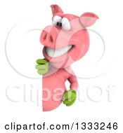 Clipart Of A 3d Happy Gardener Pig Looking Around A Sign Royalty Free Illustration