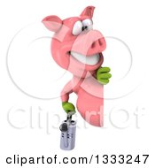 Clipart Of A 3d Happy Gardener Pig Holding A Watering Can Looking Around A Sign Royalty Free Illustration by Julos