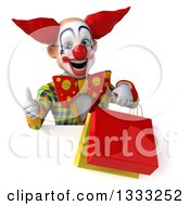Clipart Of A 3d Funky Clown Giving A Thumb Up And Holding Shopping Or Gift Bags Over A Sign Royalty Free Illustration