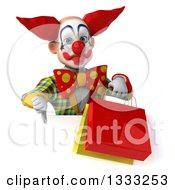 Clipart Of A 3d Funky Clown Giving A Thumb Down And Holding Shopping Or Gift Bags Over A Sign Royalty Free Illustration