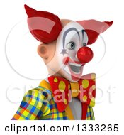 Clipart Of A 3d Funky Clown Facing Right Over A Sign Royalty Free Illustration