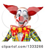 Clipart Of A 3d Funky Clown Over A Sign Royalty Free Illustration