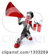 Clipart Of A 3d White And Black Clown Holding A Gift And Announcing Upwards With A Megaphone Royalty Free Illustration