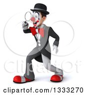 Clipart Of A 3d White And Black Clown Facing Left And Searching With A Magnifying Glass Royalty Free Illustration