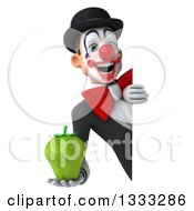 Clipart Of A 3d White And Black Clown Holding A Green Bell Pepper Around A Sign Royalty Free Illustration