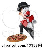 Clipart Of A 3d White And Black Clown Holding A Pizza And Looking Around A Sign Royalty Free Illustration