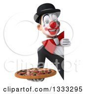 Clipart Of A 3d White And Black Clown Holding A Pizza Around A Sign Royalty Free Illustration