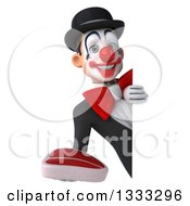 Clipart Of A 3d White And Black Clown Holding A Beef Steak Around A Sign 2 Royalty Free Illustration