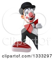 Clipart Of A 3d White And Black Clown Holding A Beef Steak Around A Sign Royalty Free Illustration