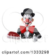 Clipart Of A 3d White And Black Clown Holding A Beef Steak Over A Sign Royalty Free Illustration