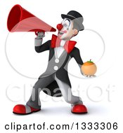 Clipart Of A 3d White And Black Clown Holding A Navel Orange And Announcing To The Left With A Megaphone Royalty Free Illustration
