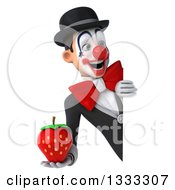 Clipart Of A 3d White And Black Clown Holding A Strawberry And Looking Around A Sign Royalty Free Illustration