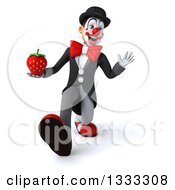 Clipart Of A 3d White And Black Clown Walking Waving And Holding A Strawberry Royalty Free Illustration