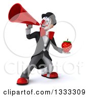 Clipart Of A 3d White And Black Clown Holding A Strawberry And Using A Megaphone Royalty Free Illustration
