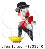 Clipart Of A 3d White And Black Clown Holding A Banana And Looking Around A Sign Royalty Free Illustration