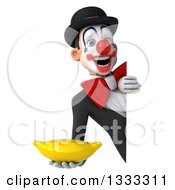 Clipart Of A 3d White And Black Clown Holding A Banana Around A Sign Royalty Free Illustration