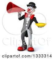 Clipart Of A 3d White And Black Clown Holding A Banana And Announcing With A Megaphone Royalty Free Illustration