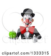 Clipart Of A 3d White And Black Clown Holding A Green Apple Over A Sign Royalty Free Illustration