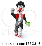 Clipart Of A 3d White And Black Clown Flying And Holding A Green Apple Royalty Free Illustration