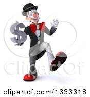 Clipart Of A 3d White And Black Clown Dancing Waving And Holding A Dollar Currency Symbol Royalty Free Illustration