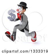 Clipart Of A 3d White And Black Clown Sprinting To The Left And Holding A Dollar Currency Symbol Royalty Free Illustration