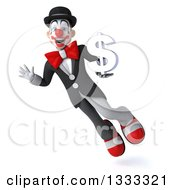 Clipart Of A 3d White And Black Clown Flying Waving And Holding A Dollar Currency Symbol Royalty Free Illustration