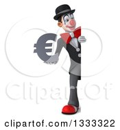 Clipart Of A 3d Full Length White And Black Clown Holding A Euro Currency Symbol And Looking Around A Sign Royalty Free Illustration