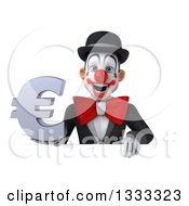 Clipart Of A 3d White And Black Clown Holding A Euro Currency Symbol Over A Sign Royalty Free Illustration