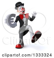 Clipart Of A 3d White And Black Clown Dancing Waving And Holding A Euro Currency Symbol Royalty Free Illustration
