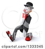 Clipart Of A 3d White And Black Clown Speed Walking To The Left Royalty Free Illustration