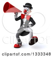 Clipart Of A 3d White And Black Clown Dancing And Using A Megaphone Royalty Free Illustration
