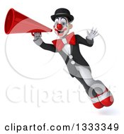 Clipart Of A 3d White And Black Clown Flying Waving And Using A Megaphone Royalty Free Illustration