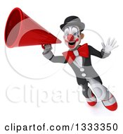 Clipart Of A 3d White And Black Clown Flying Waving And Using A Megaphone 2 Royalty Free Illustration