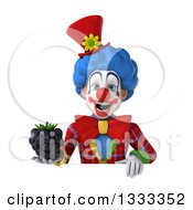 Clipart Of A 3d Colorful Clown Holding A Blackberry Over A Sign Royalty Free Illustration