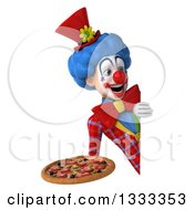 Clipart Of A 3d Colorful Clown Holding A Pizza And Looking Around A Sign Royalty Free Illustration