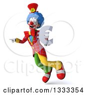 Clipart Of A 3d Colorful Clown Pointing To The Left Flying And Holding A Euro Currency Symbol Royalty Free Illustration