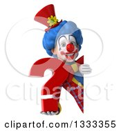 Clipart Of A 3d Colorful Clown Holding A Question Mark Around A Sign Royalty Free Illustration