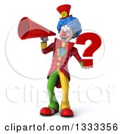 Clipart Of A 3d Colorful Clown Holding A Question Mark And Announcing With A Megaphone Royalty Free Illustration