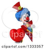 Clipart Of A 3d Colorful Clown Holding A Heart And Looking Around A Sign Royalty Free Illustration
