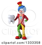 Clipart Of A 3d Colorful Clown Holding A Tooth Royalty Free Illustration